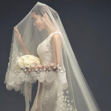 Scalloped Lace and Flowers Cathedral Veil-Your Wedding Veil Store