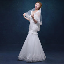 Shoulder Length Veil with Scalloped Lace Edge-Your Wedding Veil Store