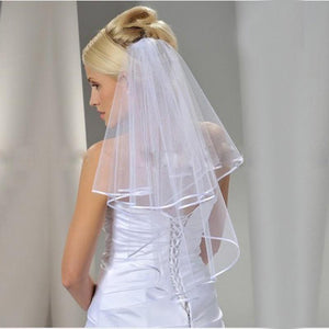Voile Double Layer Veil with Ribbon Edge-Your Wedding Veil Store