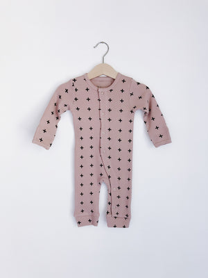 Load image into Gallery viewer, Modern Burlap - Organic Thermal Coverall | Pink + Black Swiss Cross