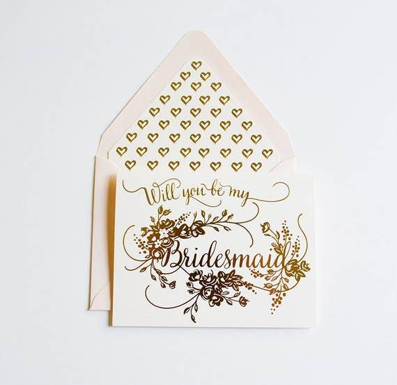 The First Snow - Will You Be My Bridesmaid Card Gold On Cream Paper
