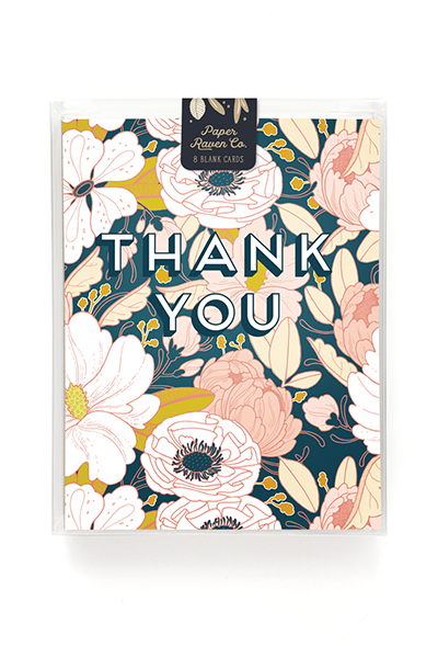 Paper Raven Co. - Night Floral Thank You Card - Box Set of 8