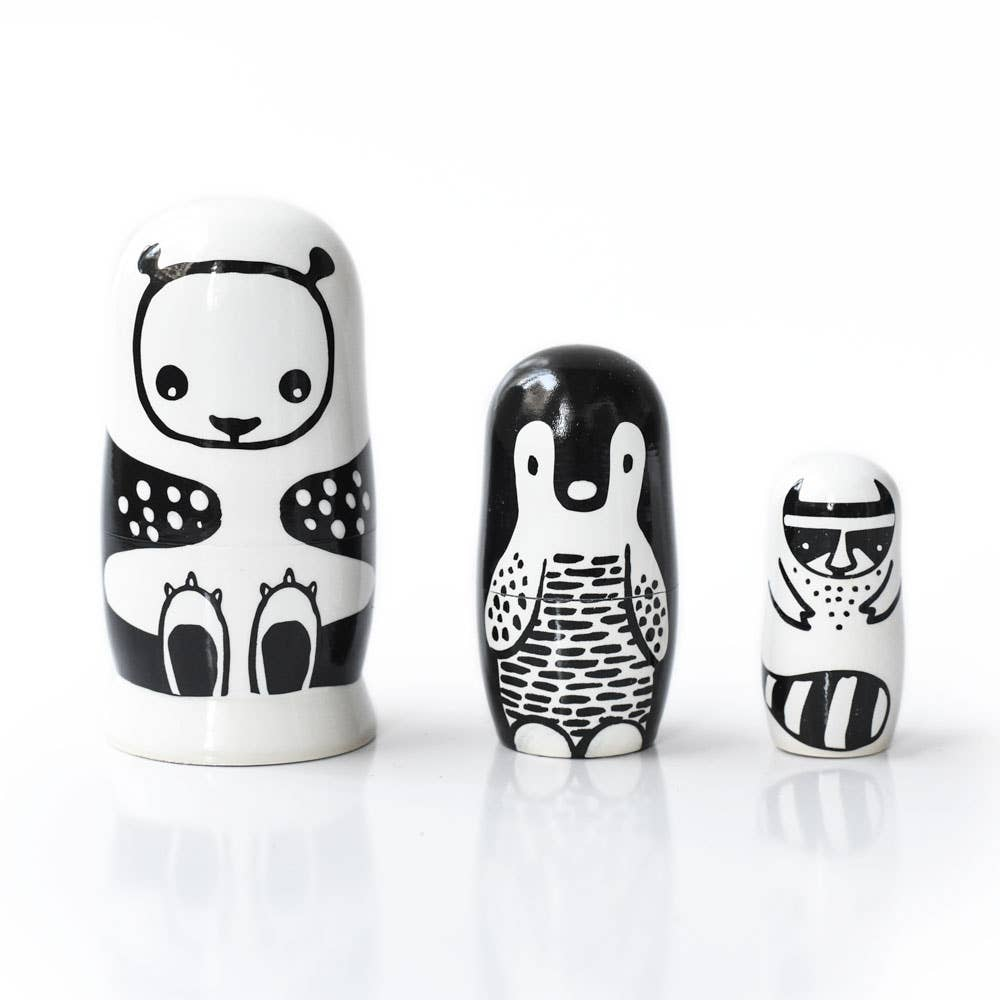 Wee Gallery - Black and White Nesting Dolls