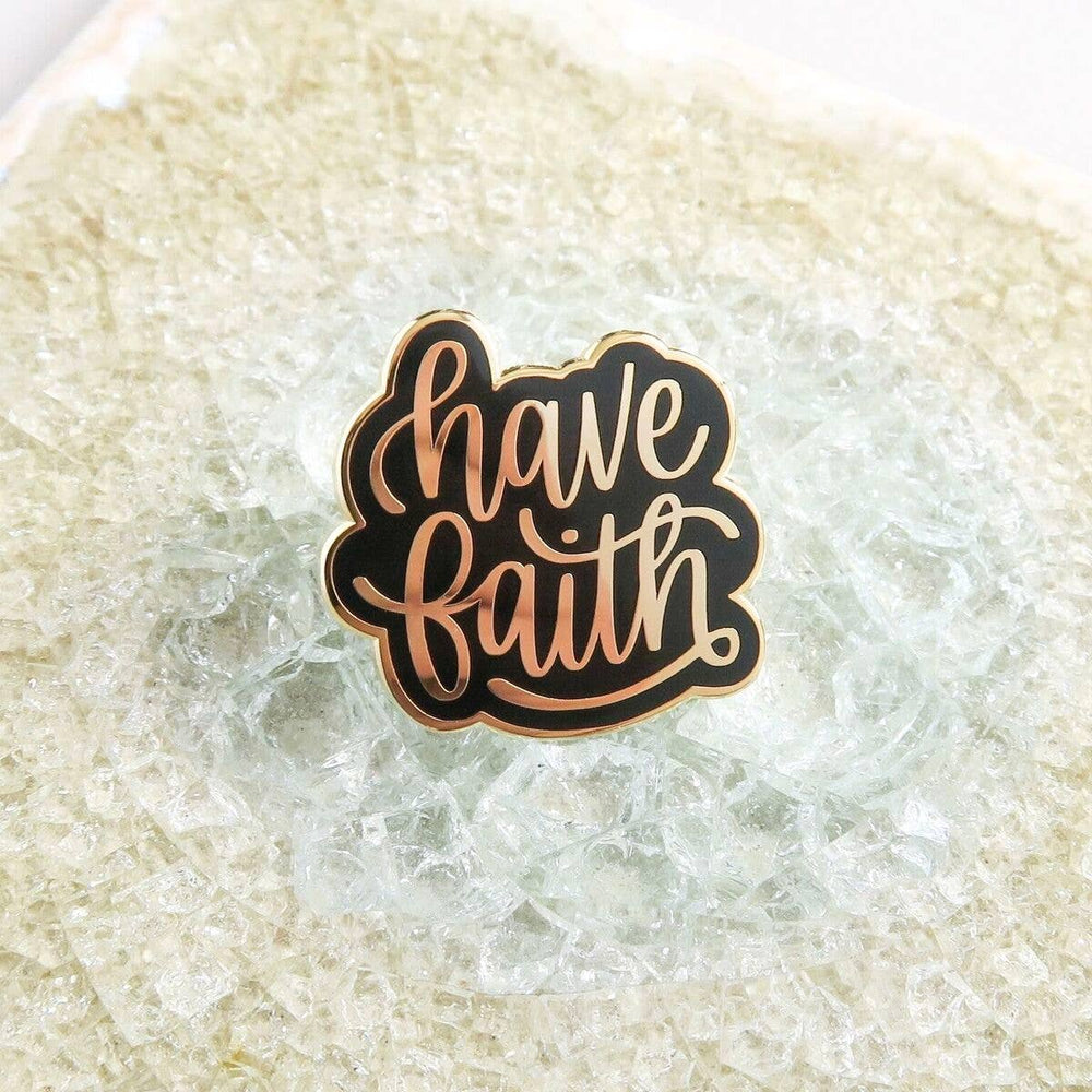Lauren Ibach - Have Faith Enamel Pin - Gold and Black