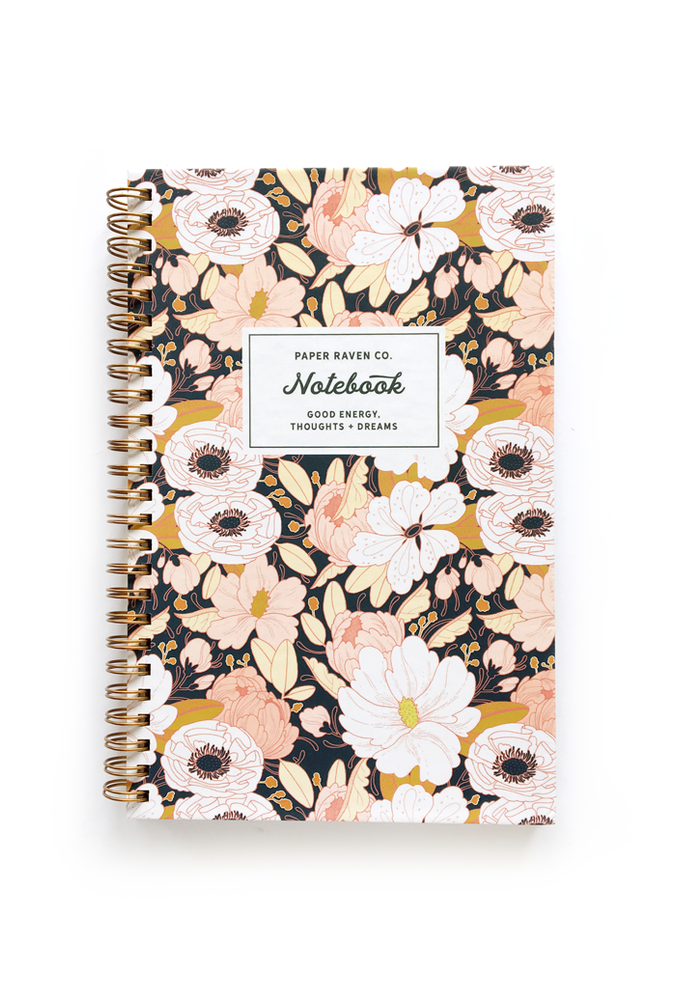 Night Floral Hardcover Spiral Notebook - Paper Raven Co.