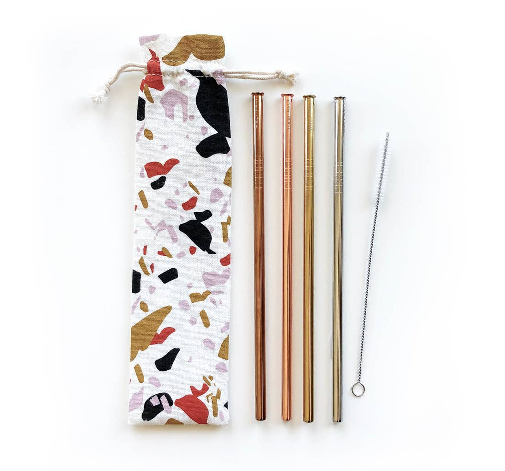 Eco Friendly Reusable Straws- Terrazzo