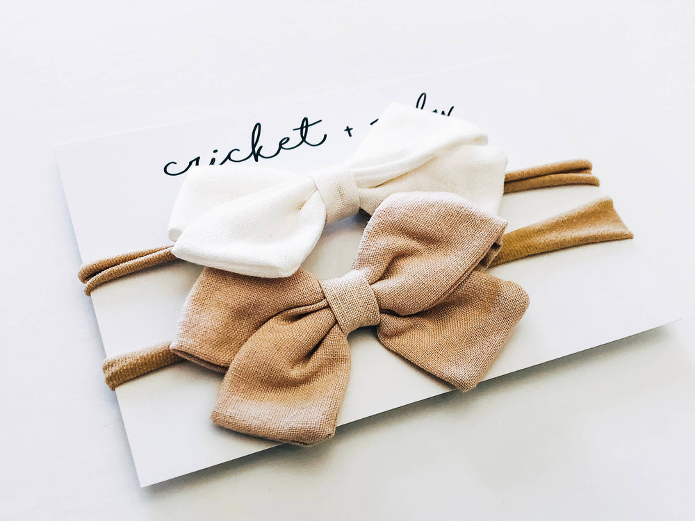Cricket and Ruby - Linen Bow Headband | Tan & White - 2 Pack