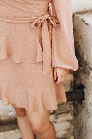 Load image into Gallery viewer, Blush ruffle dot dress