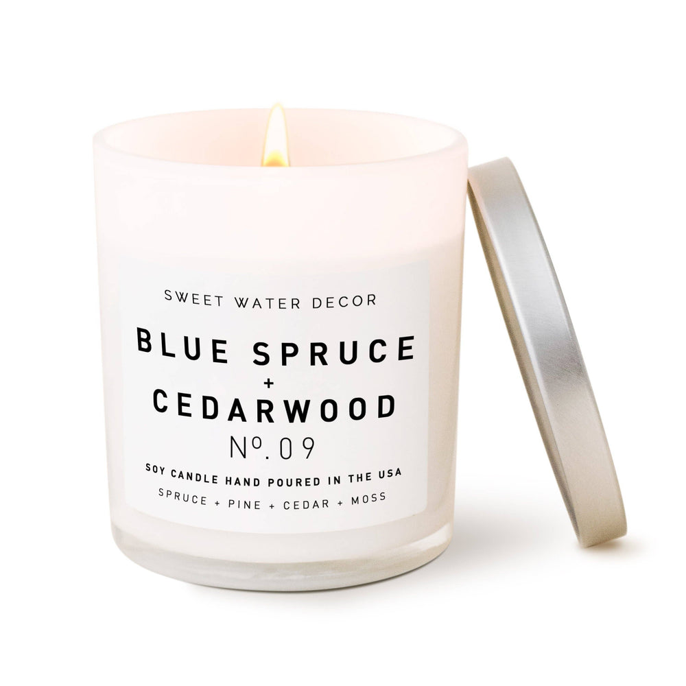 Sweet Water Decor - Blue Spruce and Cedarwood Soy Candle | White Jar Candle