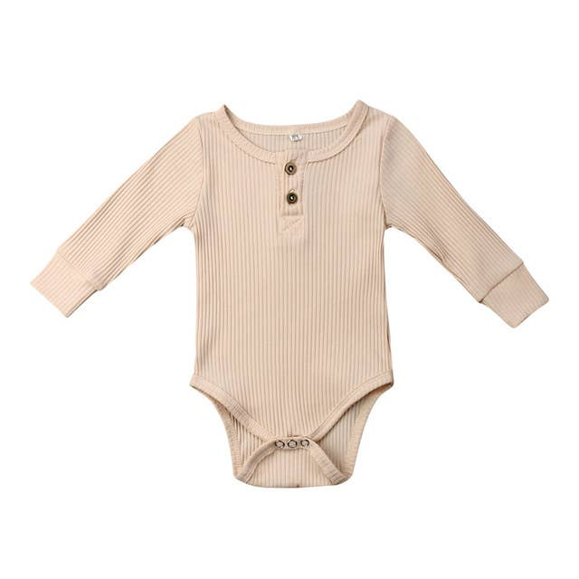 Load image into Gallery viewer, Elsa Bella Baby - Paige Ribbed Henley Romper (4 colors)
