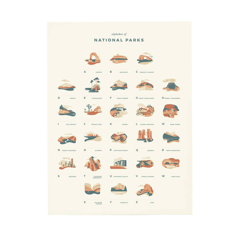 National Parks Alphabet Print-Letterfolk