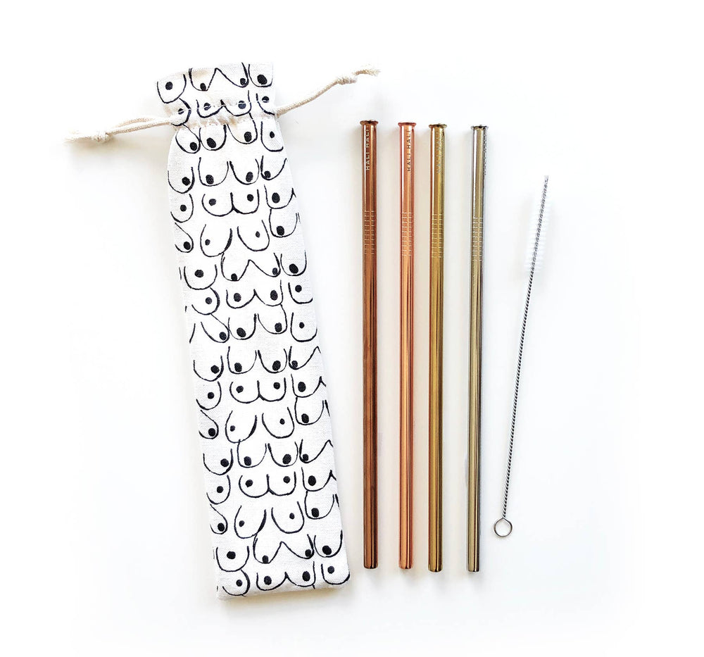 Eco Friendly Reusable Straw Set - Love Yourself, 6 pc