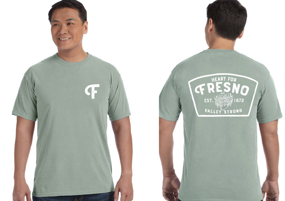 Load image into Gallery viewer, Sage green Unisex Heart For Fresno Tee