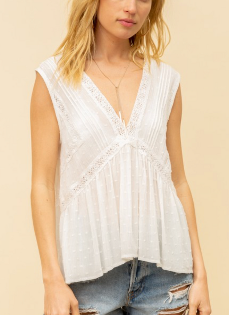 off white tank with lace detail