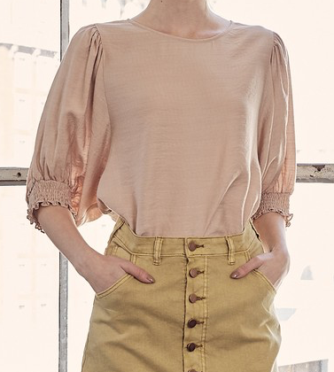 smocking sleeve taupe top