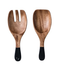 wooden salad servers- black