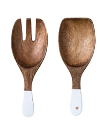 wooden salad servers- white