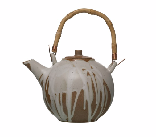 ceramic teapot with drip glaze
