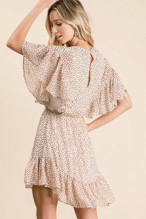 Load image into Gallery viewer, taupe Dalmatian-print ruffle dress