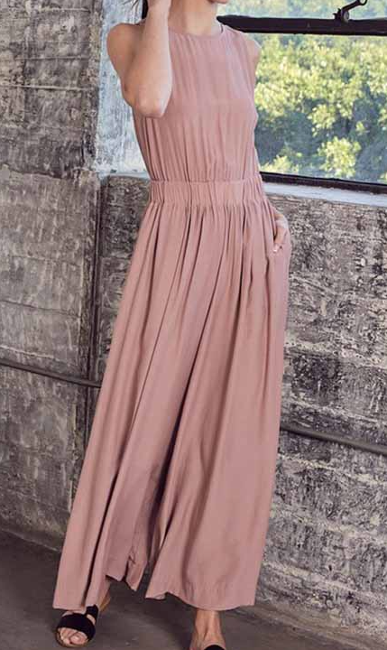 blush jumpsuit with tie back