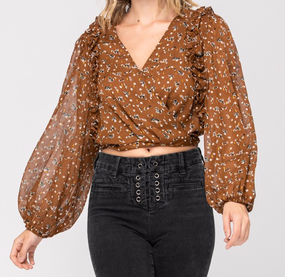 brown floral ruffle top