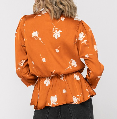 Load image into Gallery viewer, pumpkin floral top