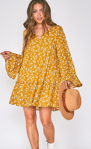 Load image into Gallery viewer, mustard floral swing dress