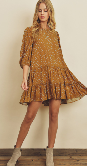 Load image into Gallery viewer, golden floral ruffle dress