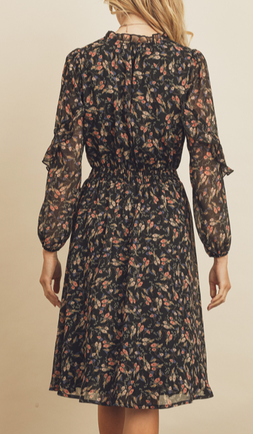 Load image into Gallery viewer, Floral Ruffled Colar Midi Dress