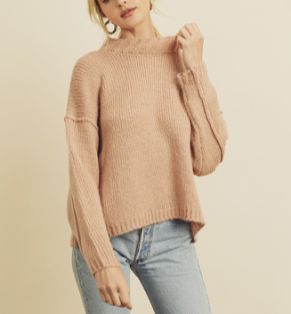 Mock Neck Blush Sweater