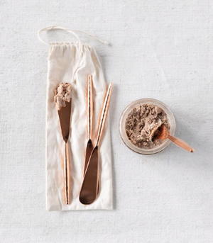 Load image into Gallery viewer, Copper Finish Stainless Steel Canape Knives - Set of 4 in Drawstring Bag