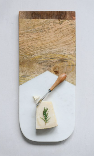 Marble & Mango Wood Cutting Board w/ Canape Knife