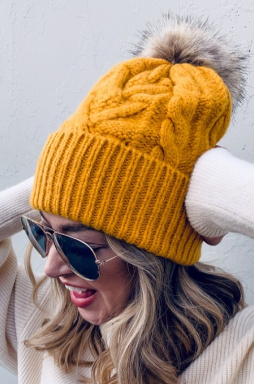 Pom Beanies - Mustard, Off White, Gray