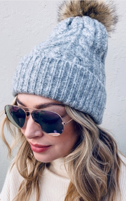 Load image into Gallery viewer, Pom Beanies - Mustard, Off White, Gray