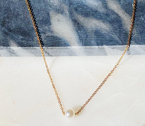 Load image into Gallery viewer, Dainty Single Pearl Necklace