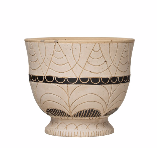 Load image into Gallery viewer, Hand-Painted Terra-cotta Debossed Footed Planter
