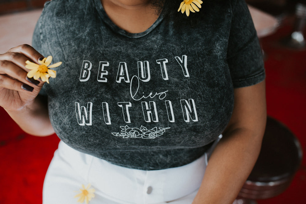 Load image into Gallery viewer, Beauty Lies Within Acid Wash Tee