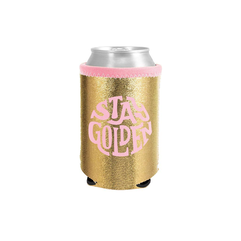Stay Golden metallic can cooler