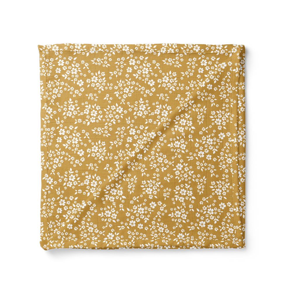 Mustard Whimsy Floral Swaddle