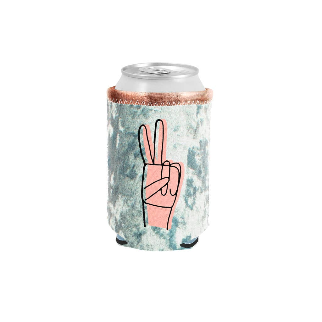 Peace velvet metallic can cooler