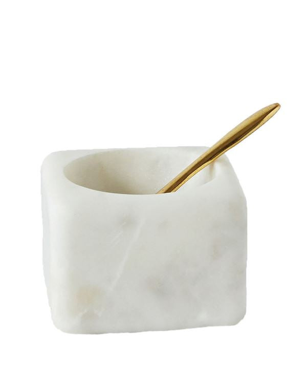 White Marble Bowl w/ Brass Spoon, Set of 2