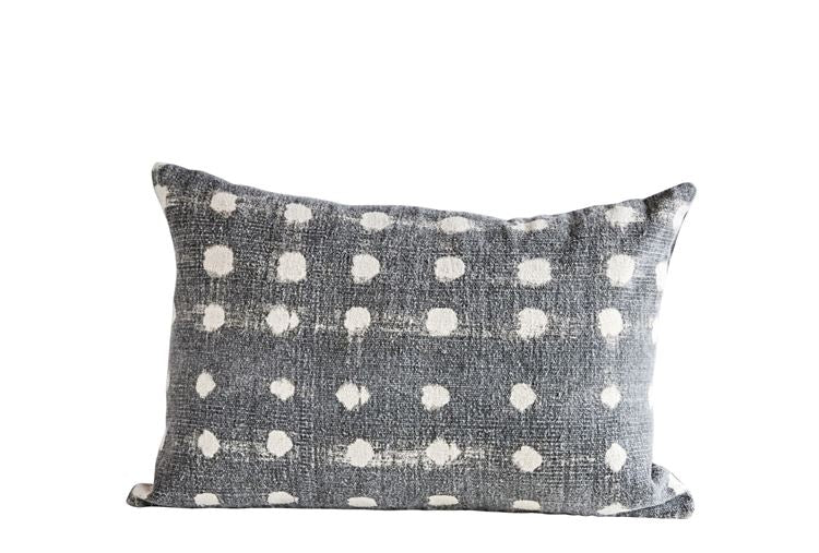 Charcoal Cotton Slub Polka Dot Pillow