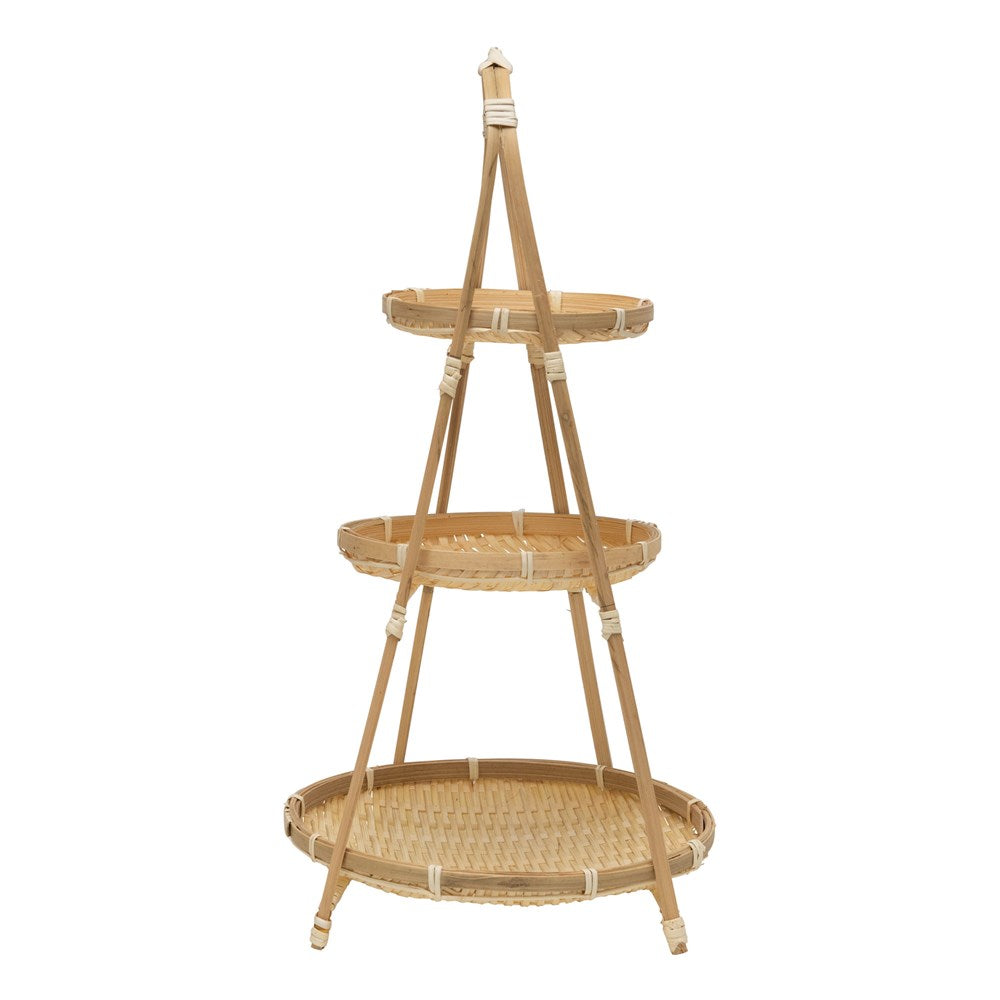 Load image into Gallery viewer, Hand-Woven Bamboo 3-Tier Tray