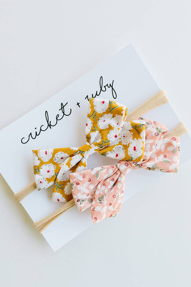 Cricket and Ruby - Linen Bow Headband | Blush & Mustard Floral - 2 Pack