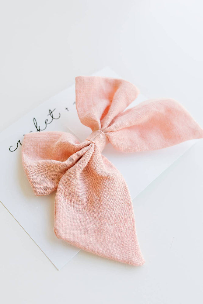 Cricket and Ruby - Oversized Linen Bow Clip | Blush