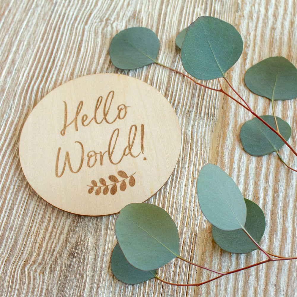 Load image into Gallery viewer, Hello World Milestone Wood Disc- Bebe Au Lait