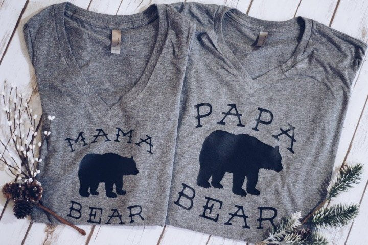 Load image into Gallery viewer, Papa Bear Tee.pregnancy annoucement tee. fathers day gift.dad apparel.dad tee shirt.dad clothing. dad shirt