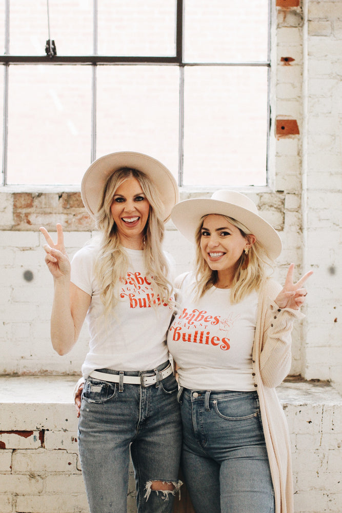 Load image into Gallery viewer, White and red Babes Against Bullies tee