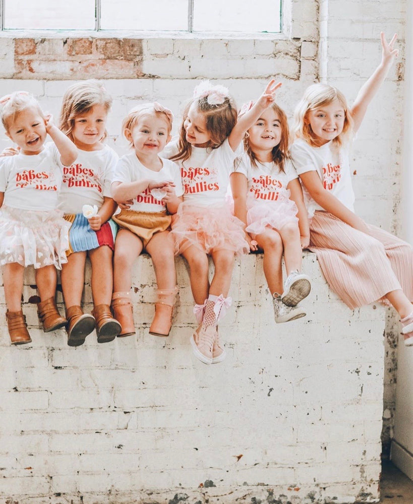 Load image into Gallery viewer, White and Red Babes against bullies kids tee