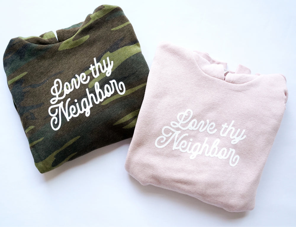 Load image into Gallery viewer, love thy neighbor kids hoodie